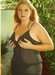 Long Haired Fat Blonde on Black Lingerie Posing Outside