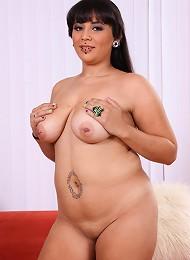 Fresh pierced BBW shows her big melons