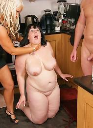 Big ass brunette does a husbby