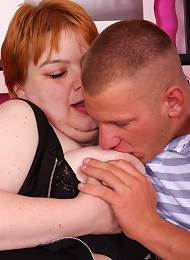 Cute fatty with a bushy snatch Elisha parts her bushy pussy wide to take cock cramming live