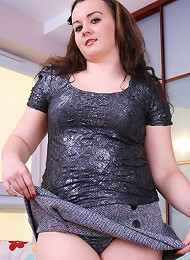 Chubby coed gets rid of her sexy lingerie and stockings