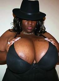 Massive boobs on ebony babe