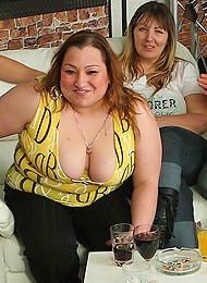 Fat slut fucked at party and takes load