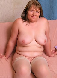 Chubby cutie playing with her panties