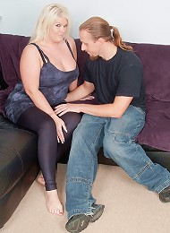 Lovely blonde fattie with tats and curves gets dicked by a random stranger