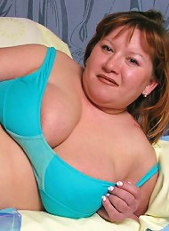 Cute plump showing huge tits