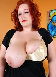 BBW Redhead MILF takes all the man-sausage her plumper cunt can handle