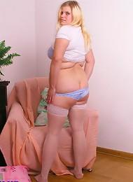 Horny chubby teen posing in white stockings