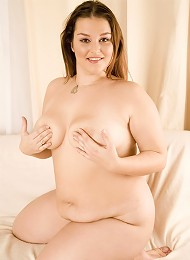 Young chubby slut bouncing on top of a thick dildo