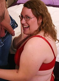 Geeky fatty pierced deep in the twat with cock