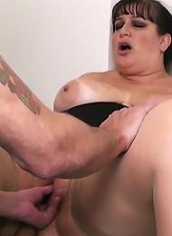 Fattie in stockings boned in office
