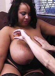 Giant black boobs got wet