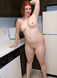 Chubby young gingerhead gets all naked in kitchen