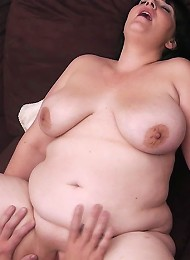 Chubby brunette massaged and fucked